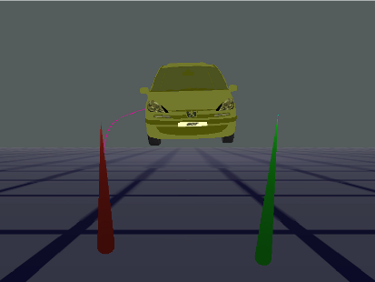 A manipulated car with one ray left